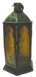 Laterne mit gelben Glasfenster H= 23 cm