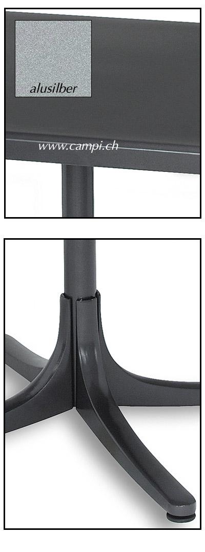 Fiberglastisch 70x70 cm klappbar alusilber #3