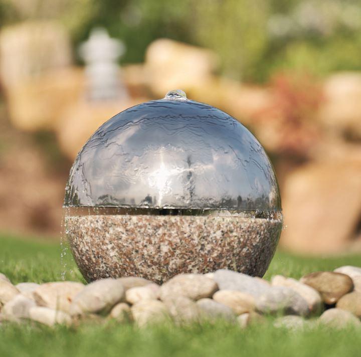 Kugelbrunnen Granit mit Edelstahlhaube Ø35 x 37 cm