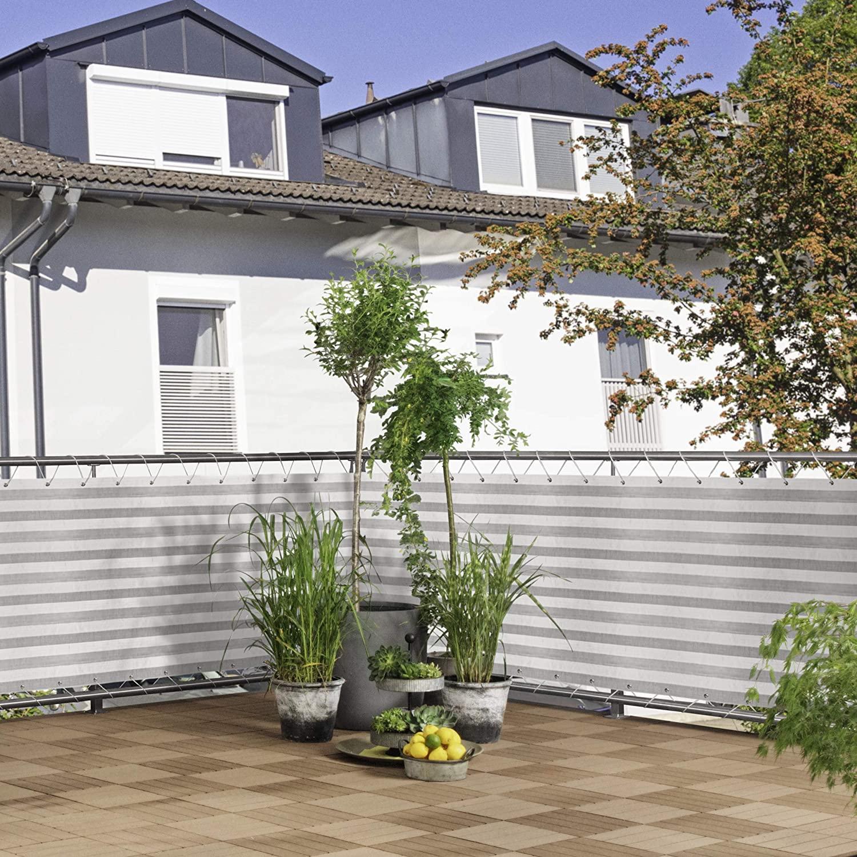 Balkonblende Ecoline 5x0.9m weiss-grau #1