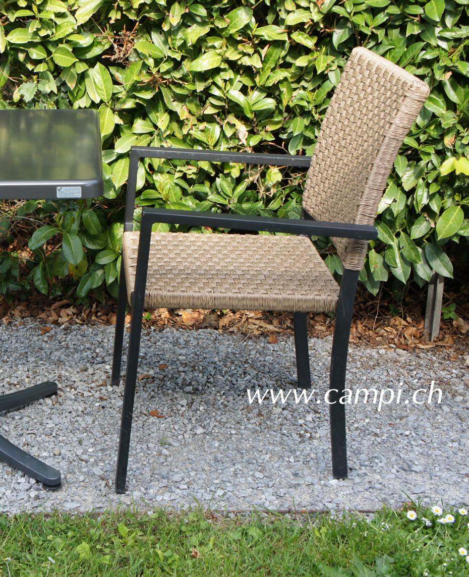 Gartenstuhl mit Alurahmen und Polyrattan nature #1
