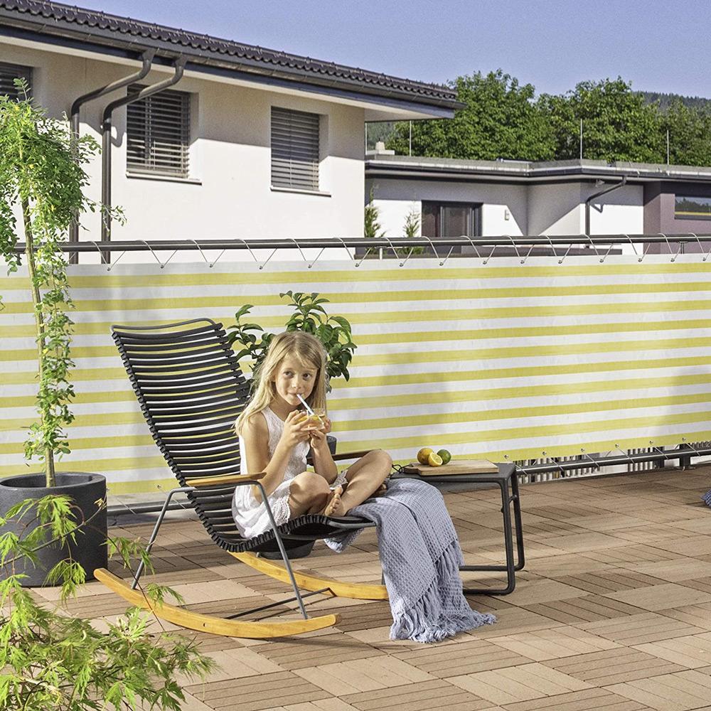 Balkonblende Ecoline 5x0.9m weiss-gelb #1