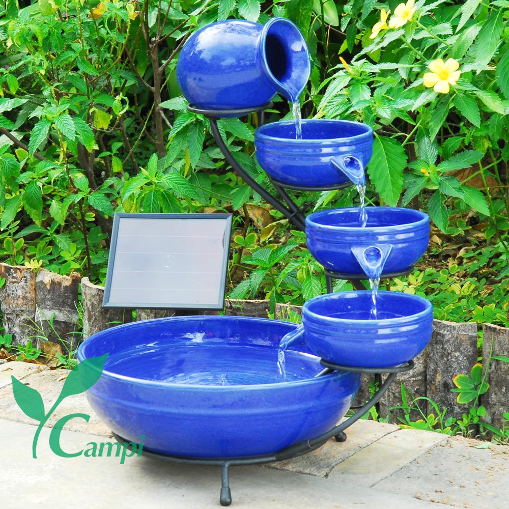 Solar Kaskadenbrunnen Blau aus Keramik