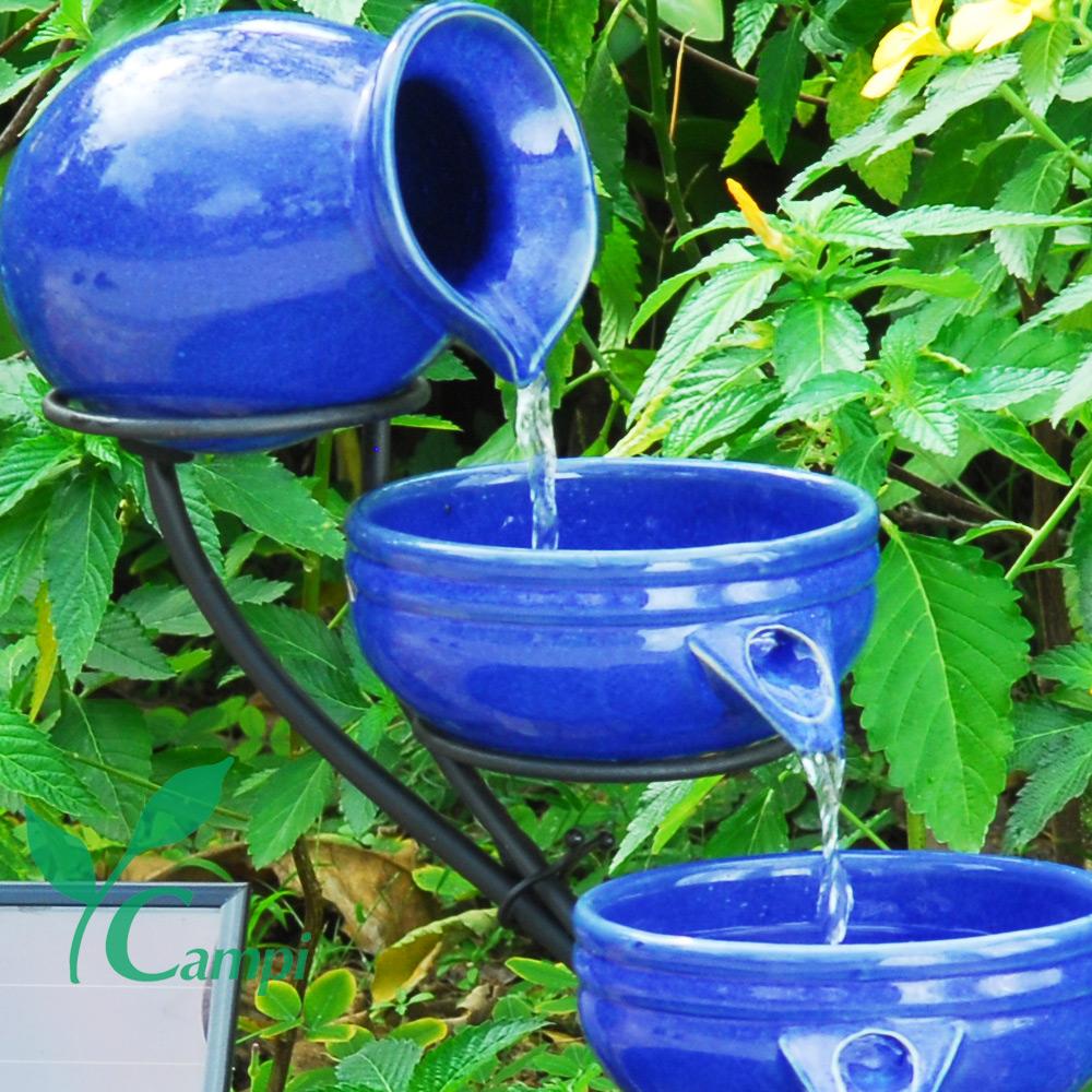Solar Kaskadenbrunnen Blau aus Keramik #2