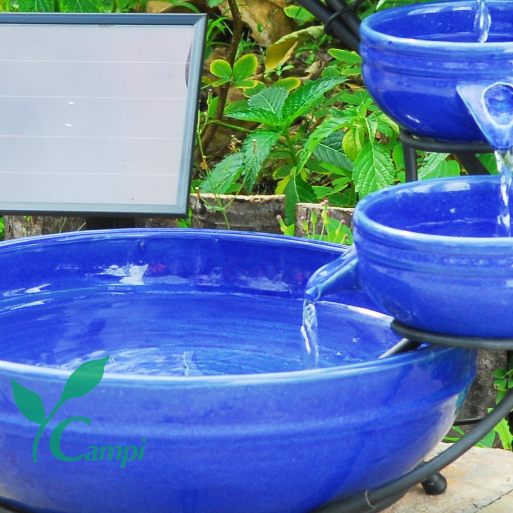 Solar Kaskadenbrunnen Blau aus Keramik #3