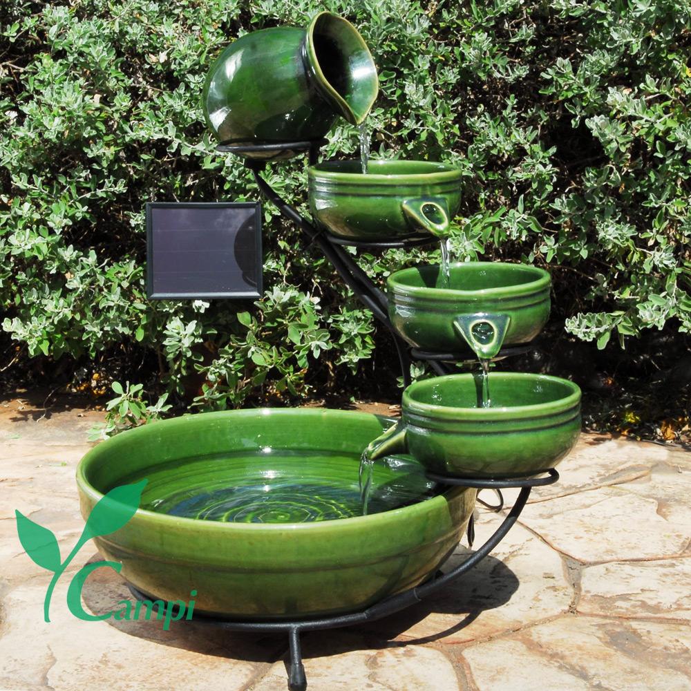 Solar Kaskadenbrunnen Grün aus Keramik