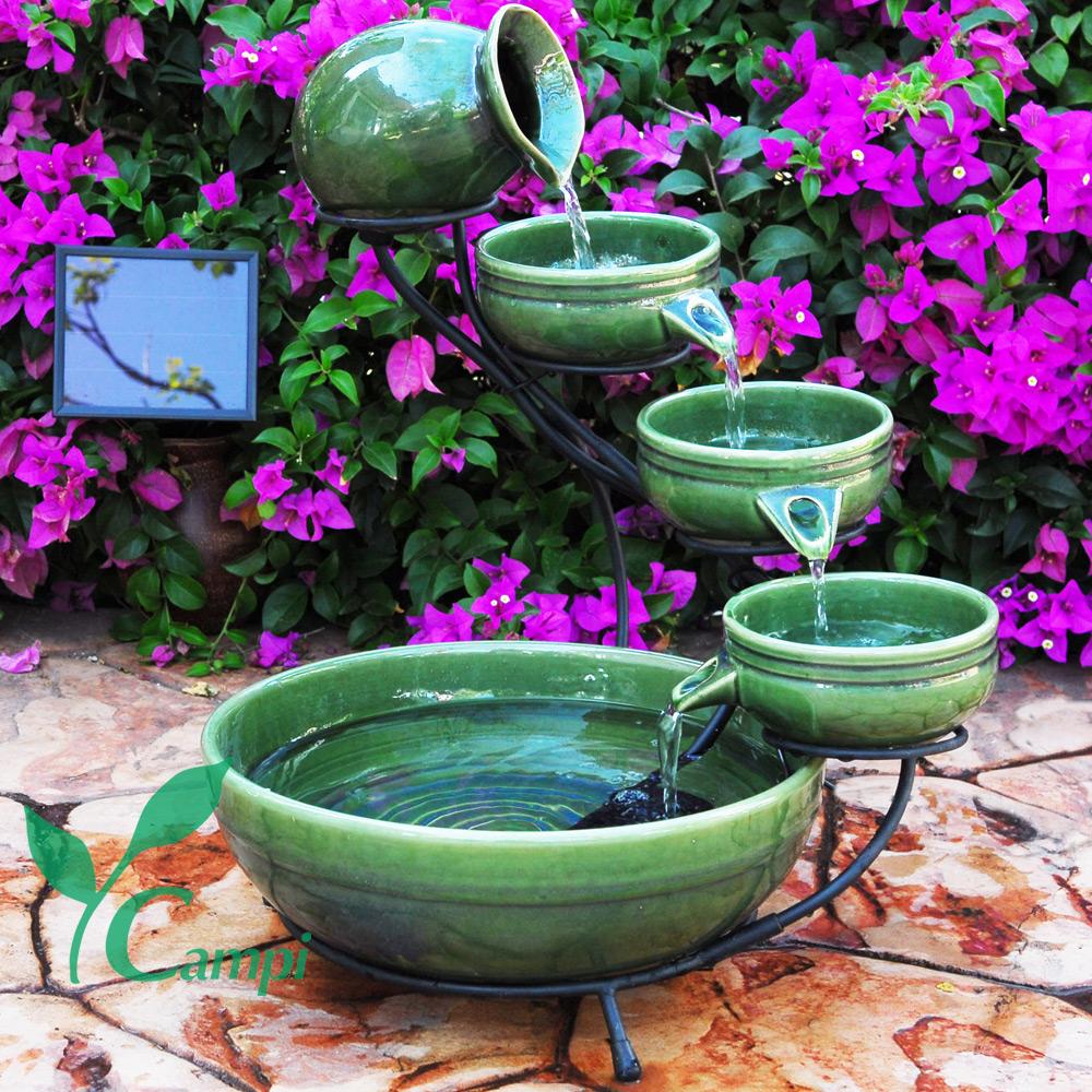 Solar Kaskadenbrunnen Grün aus Keramik #2