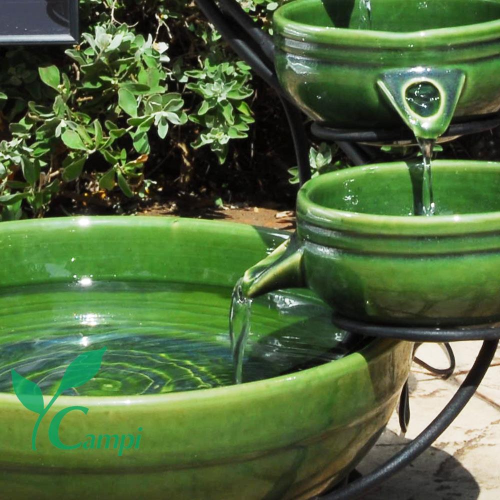 Solar Kaskadenbrunnen Grün aus Keramik #3