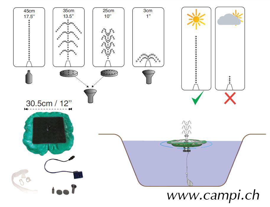 Solarspringbrunnen Seerose 210 L/h #2