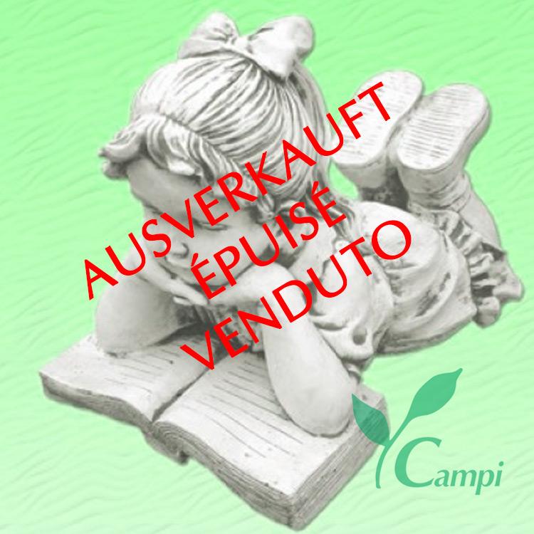Gartenfigur Weisszement Mädchen mit Buch 50x27 H35 cm