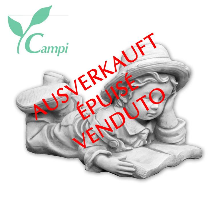 Gartenfigur Weisszement Junge mit Buch 45x25 H30 cm