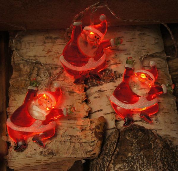 Weihnachtsmann Lichterkette LED mit 8 Figuren #1