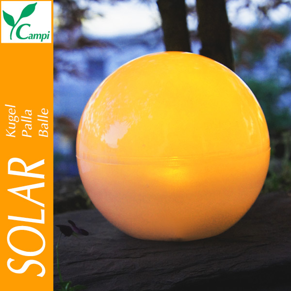 Solarleuchtkugel schwimmfähig kabellos 14 cm amber