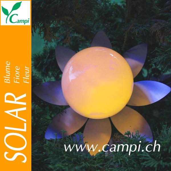 Solarblume mit Edelstahlblätterkranz D=31 cm LED amber