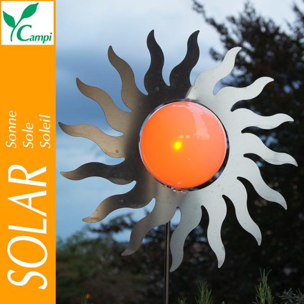 Solarsonne Edelstahl D=40cm amber LED