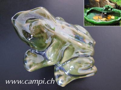 Ersatzteil Frosch grün zu Solarbrunnen Frosch Keramik