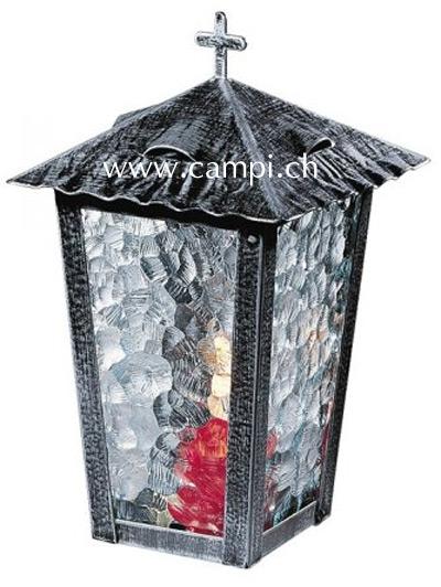Grablaterne schwarz rustikal mit Klappdach H 24 cm #1