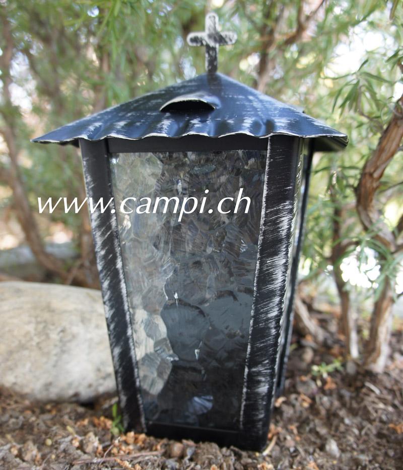 Grablaterne schwarz rustikal mit Türchen H 24 cm #2