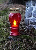 Grablaterne rot H 21 cm mit LED Kerze #1
