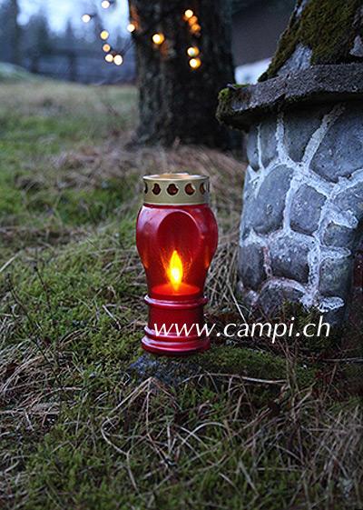 Grablaterne rot H 21 cm mit LED Kerze #2
