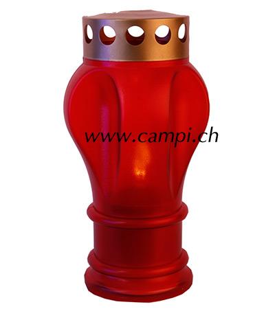 Grablaterne rot H 21 cm mit LED Kerze #3