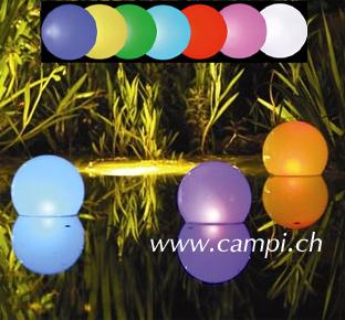 Solarleuchtkugel schwimmfähig kabellos 20 cm multicolor