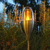 Solar Gartenfackel Edelstahl mit Windfang H 52-110 cm