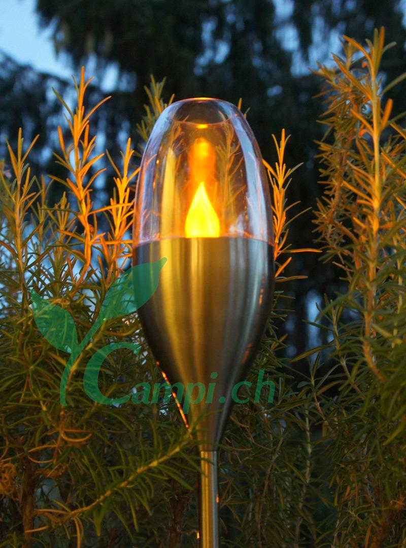 Solar Gartenfackel Edelstahl mit Windfang H 52-110 cm #2