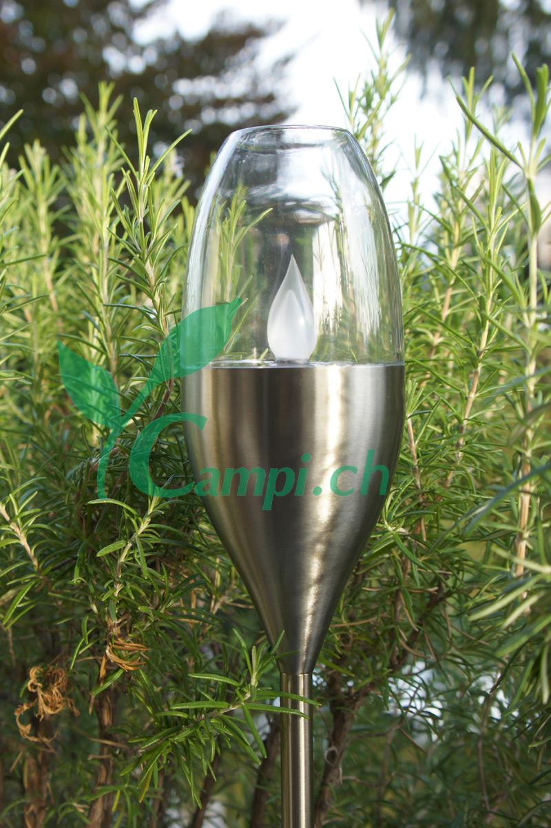 Solar Gartenfackel Edelstahl mit Windfang H 52-110 cm #3
