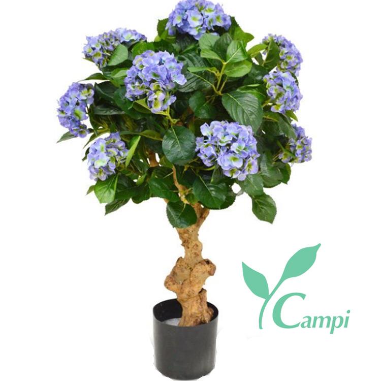 Hortensie (Hydrangea) mit Echtholzstamm D55x90 cm blau-lila