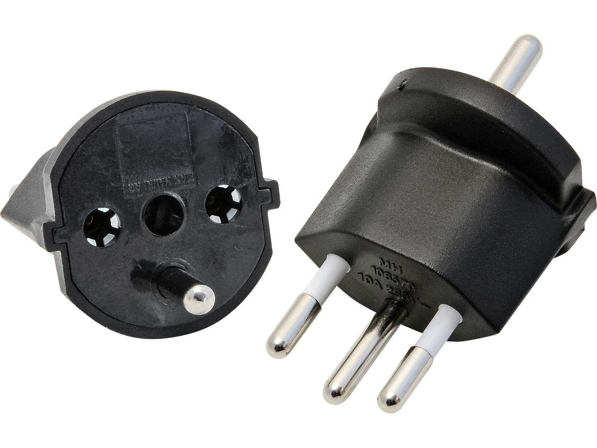 Fixadapter CH Typ 12 Schuko (3-polig) schwarz