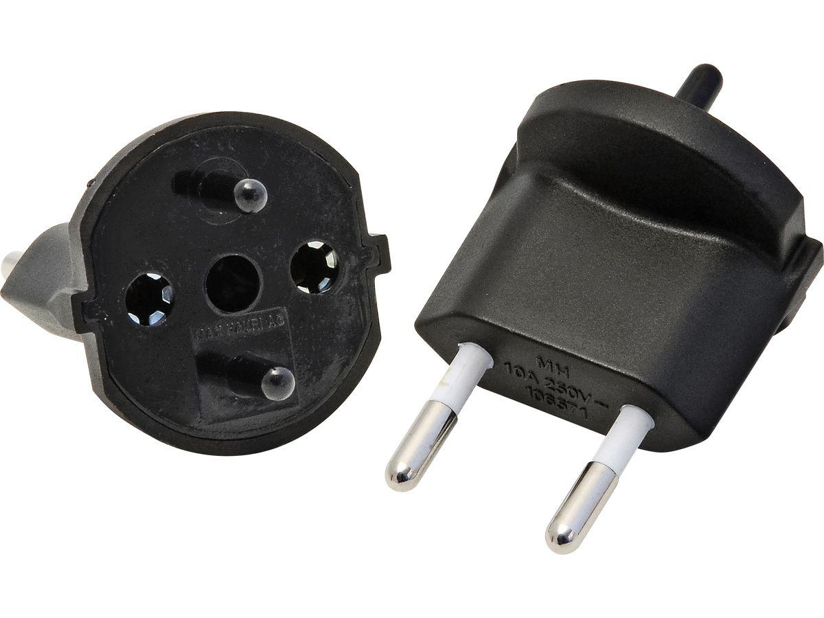 Fixadapter CH Typ 11 (2-polig) CEE 7/17 schwarz