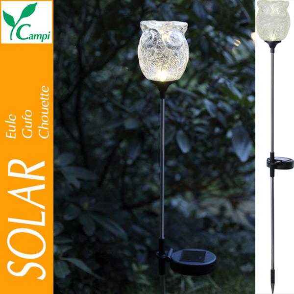 Solar-Eule aus Glas auf Stab