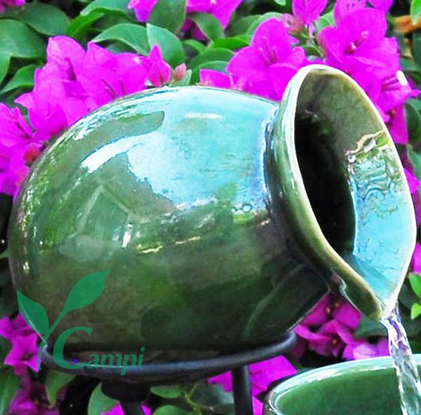 Krug Terracotta grün zu Kaskadenbrunnen