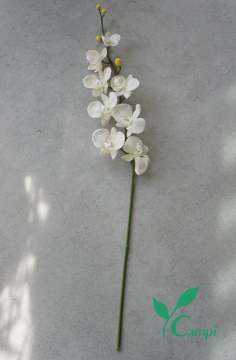 Künstliche Orchidee mit Latexblüten weiss-creme 14x80 cm