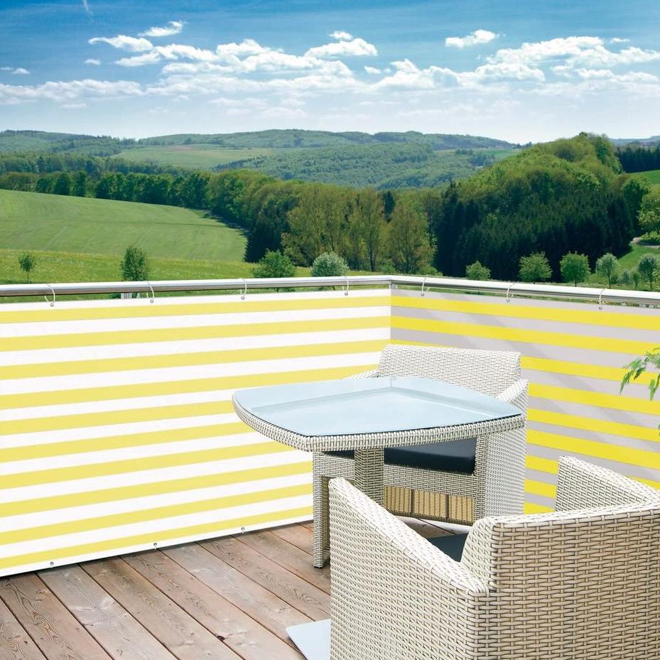 Balkonblende Profiline 5x0.9m weiss-gelb