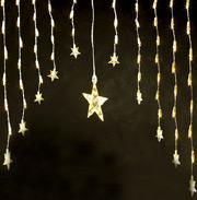 Leuchtsternen-Vorhang mit 11 Sternen 80 Birnchen 120x80 cm