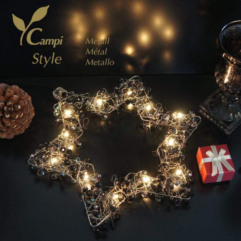 Leuchtstern mit Perlen schwarz opulent 28x28 cm mit 12 Lämpchen #2