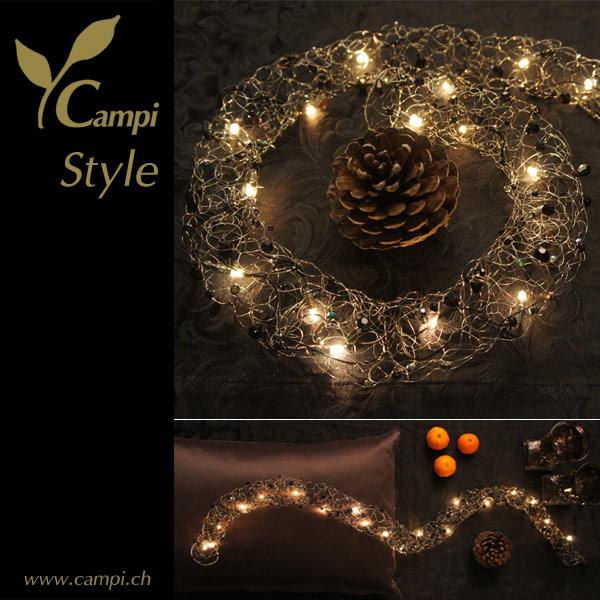 Lichterkette mit Perlen schwarz opulent Ø50x100 cm #2