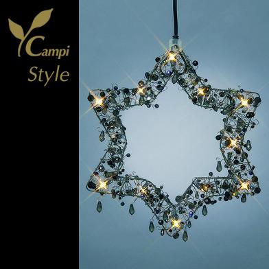 Leuchtstern mit Perlen schwarz opulent 28x28 cm mit 12 Lämpchen #3