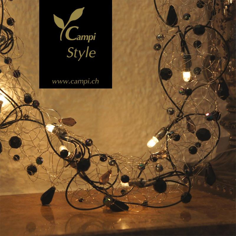 Lichterkette mit Perlen schwarz opulent Ø50x100 cm #3