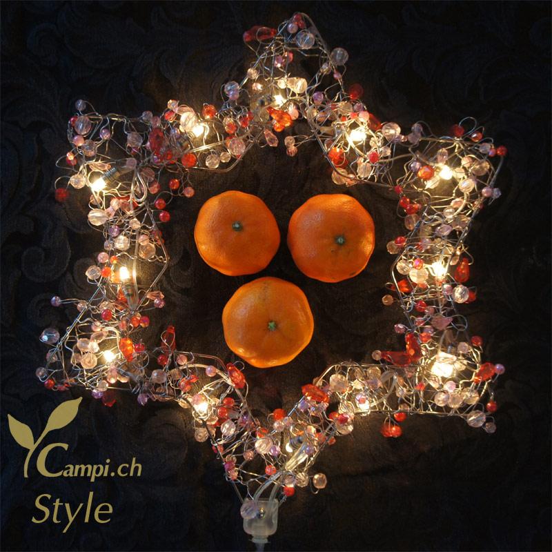 Leuchtstern mit Perlen rot opulent 28x28 cm mit 12 Lämpchen #3