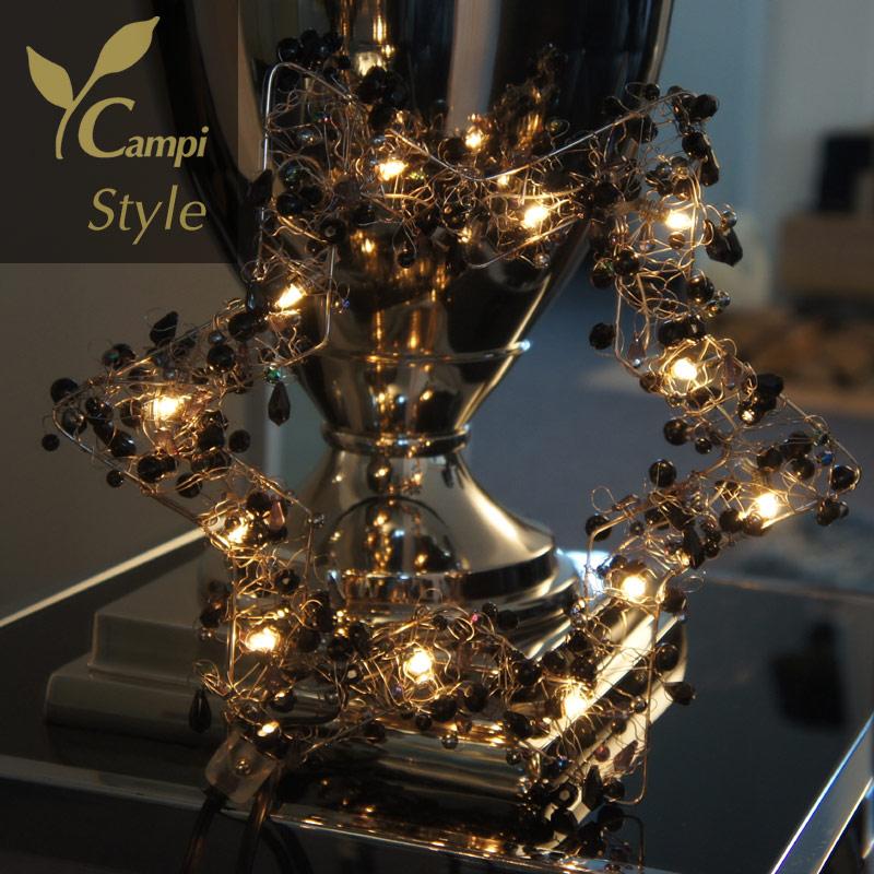 Leuchtstern mit Perlen schwarz opulent 28x28 cm mit 12 Lämpchen #4