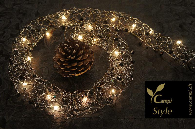 Lichterkette mit Perlen schwarz opulent Ø50x100 cm #4