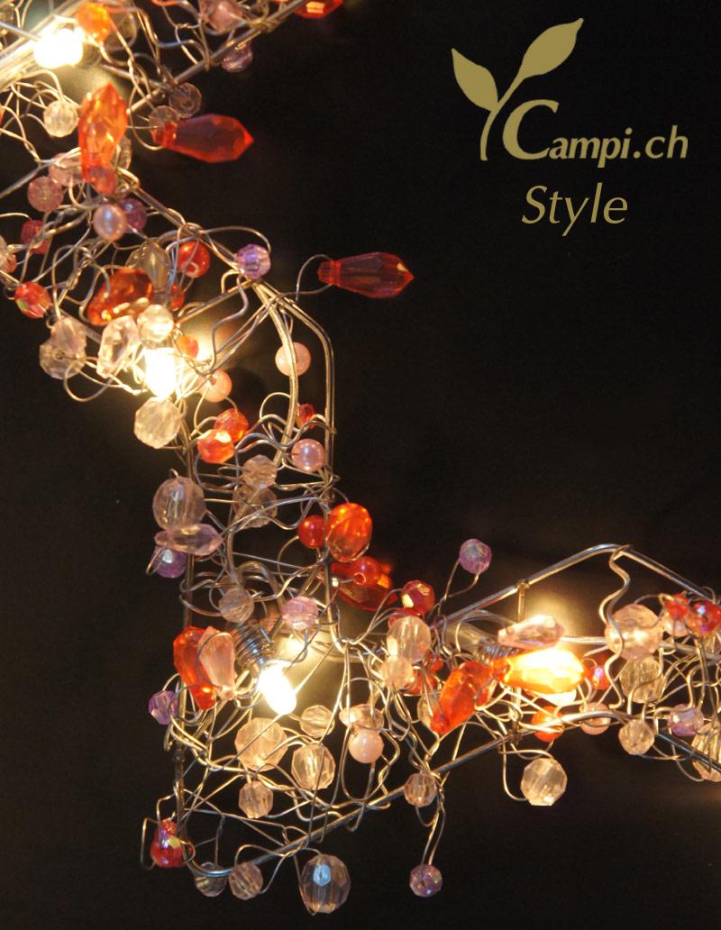 Leuchtstern mit Perlen rot opulent 28x28 cm mit 12 Lämpchen #4