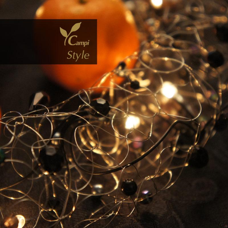 Lichterkette mit Perlen schwarz opulent Ø50x100 cm #5