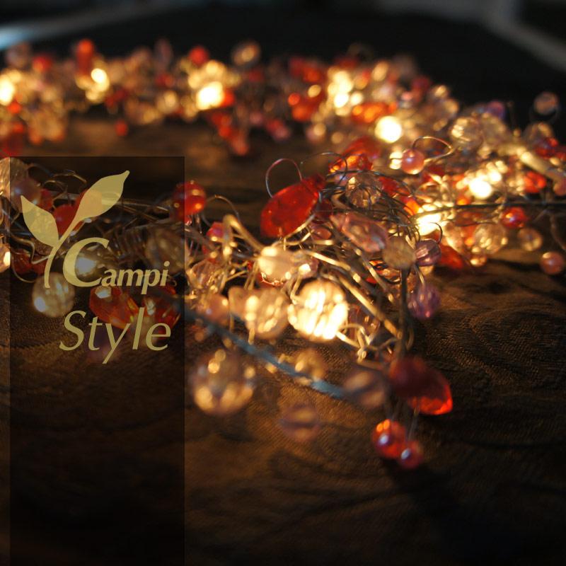 Leuchtstern mit Perlen rot opulent 28x28 cm mit 12 Lämpchen #5