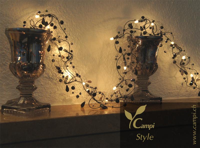 Lichterkette mit Perlen schwarz opulent Ø50x100 cm #6
