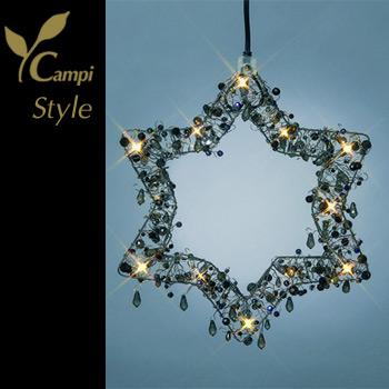 Leuchtstern mit Perlen schwarz opulent 28x28 cm mit 12 Lämpchen