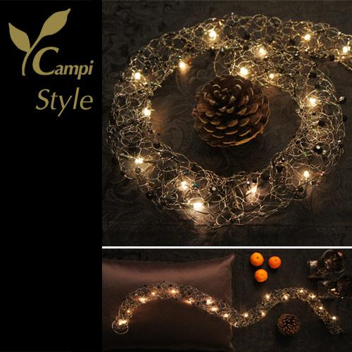 Lichterkette mit Perlen schwarz opulent Ø50x100 cm